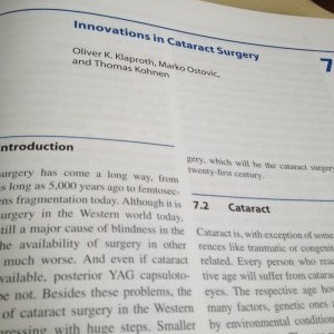 Buchkapitel: Innovations in Cataract Surgery, Oliver Klaproth et al